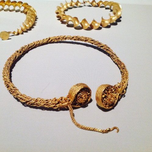 Gold torc from Scottish hoard (300 BC). The British Museum. Photo by Medievalists.net