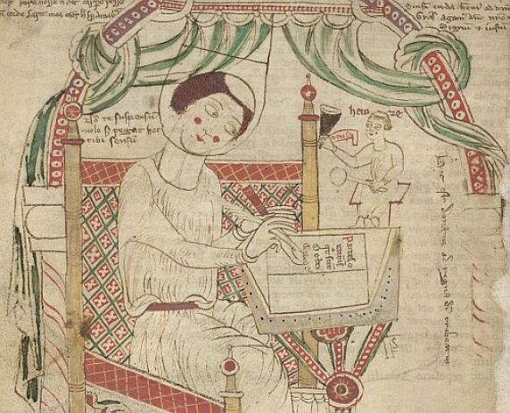 Donatus writing his grammar, his ink-pot held by a monk labelled 'Heinre' - from British Library Arundel 43   f. 80v