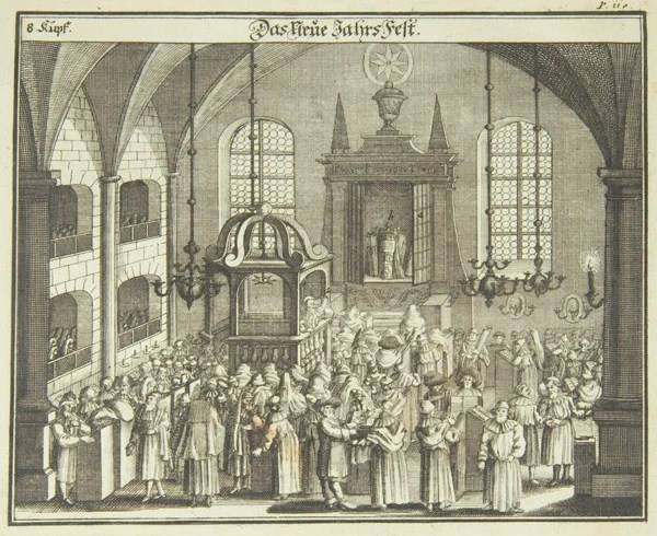 Illustration from Juedisches Ceremoniel, a German book published in 1724. The book is a beautifully illustrated description of Jewish religious ceremonies, rites of passage and feast days, which first appeared in 1716, here in its second edition of 1724.