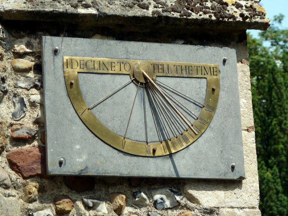 Sundial at the Church of St John the Baptist, Pampisford, Cambridgeshire. Photo by Nige Brown / Flickr