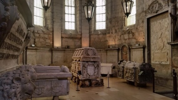 View of the majestic Gothic tomb of King Ferdinand I (1345-1383), along with several other Gothic sarcophagi inside the Carmo Monastery museum. Photo by Medievalists.net