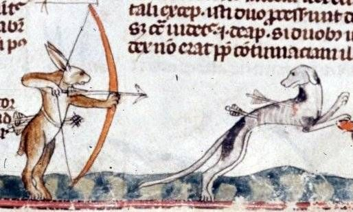 Everyone used a bow and arrow in the Middle Ages ;) - from British Library MS Royal 10 E IV