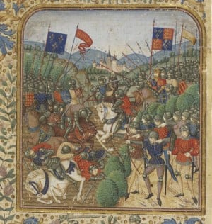 Although this image of the Battle of Agincourt was made on a medieval parchment, it was drawn around the year 1900.