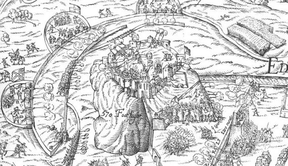 Detail from a contemporary drawing of Edinburgh Castle under siege in 1573, showing it surrounded by attacking batteries