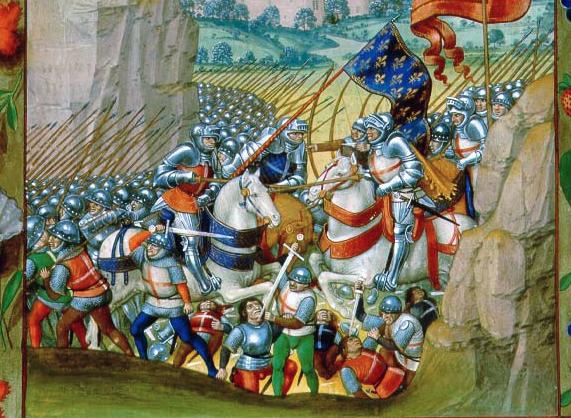 The Battle of Agincourt from Enguerrand de Monstrelet, Chronique de France. French. Manuscript op parchment, 266 ff., 405 x 300 mm. Brugge(?), c.1495