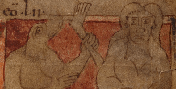 The earliest surviving illustration of a donestre consuming an unwary traveller. British Library MS Cotton Vitellius A.XV, fol. 103v (detail), late 10th or early 11th century
