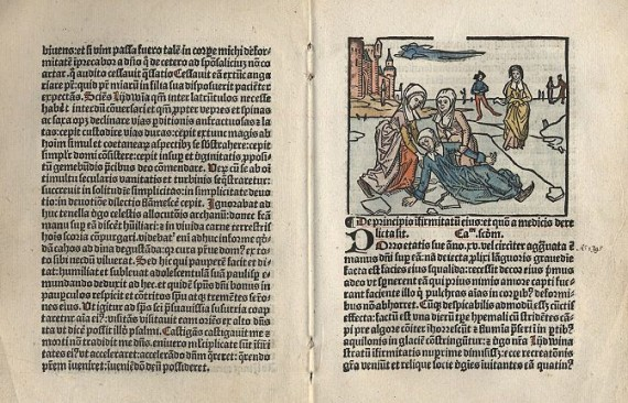 From the 1498 text, 'Vita alme virginis Liidwine' by friar Johannes Brugman depicting the fall of Saint Lidwina in an ice skating accident. (Wiki Commons).