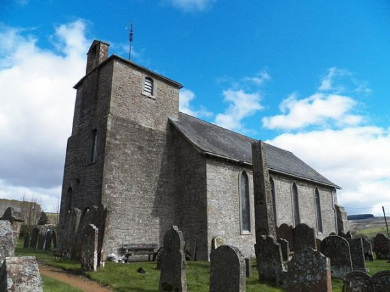 St Cuthbert's Church in Bewcastle, which lies within a hexagonal Roman fort - photo by Doug Sim / Wikimedia Commons