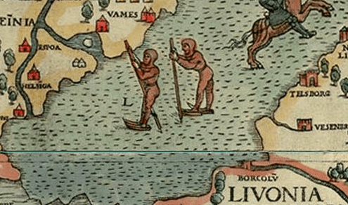 Image of people ice skating using poles to propel themselves forward. From Olaus Magnus', Carta Marina (1539).