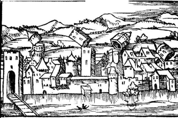 Destruction of the city Basel, depicted in Sebastian Münster's Cosmographia