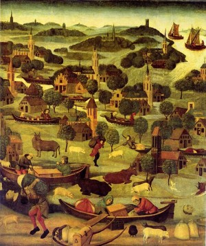 Flooding in The Netherlands depicted in the 15th century by Master of the St. Elizabeth's Panel