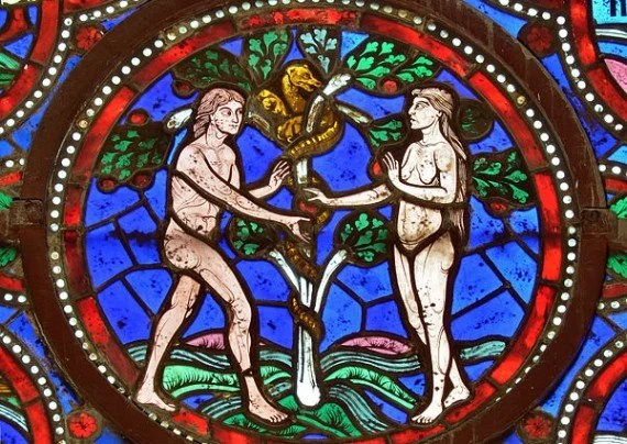 Adam and Eve in a detail of a 12th century stained glass window in Saint-Julien cathedral - Le Mans, France. Photo by Selbymay / Wikimedia Commons