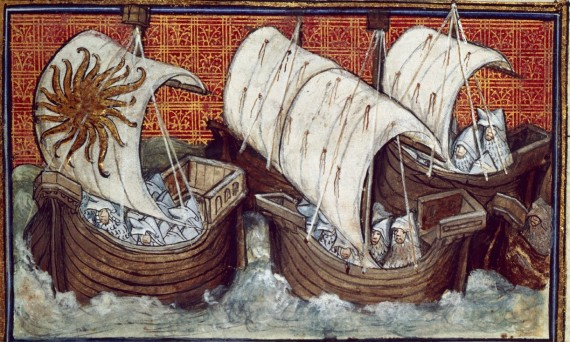 Fleet of Richard II, depicted in British Library Harley 1319  f. 18