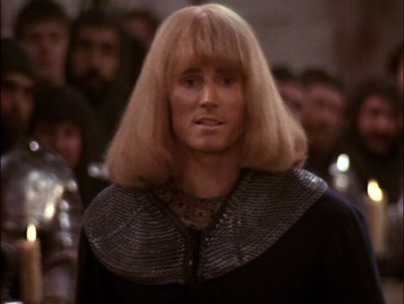 Oh that hair! Miles O'Keefe rocking a He-Man, metal band hair do, in the 1984 reboot of Sir Gawain and the Green Knight in, 'The Sword of the Valiant'