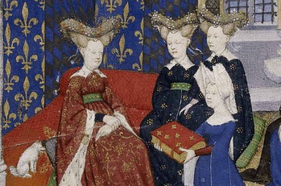 Christine de Pisan presenting her book to queen Isabeau of Bavaria. Illuminated miniature from The Book of the Queen - from British Library MS Harley 4431