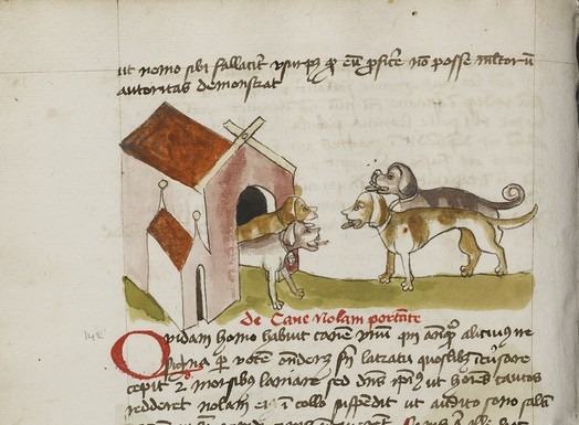 Four Dogs before a Doghouse;  Ms. Ludwig XV 1, fol. 50v. - Digital image courtesy of the Getty's Open Content Program