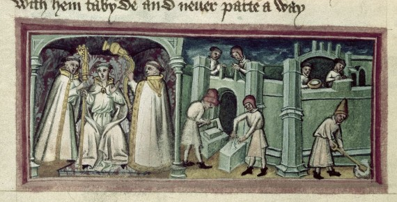 Detail of a miniature of the installation of abbot Baldwin and the building of the abbey at Bury St. Edmond's. From British Library MS Harley 2278 f.115v