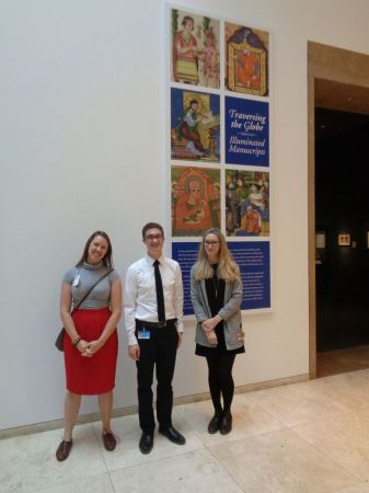 Dani (L) with Getty staff at, 'Traversing the Globe Through Illuminated Manuscript' (Photo courtesy of Dani Trynoski)