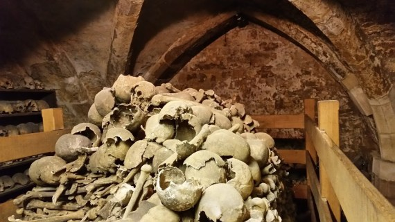 Rothwell Charnel Chapel - inside the ossuary. (Photo by Medievalists.net)