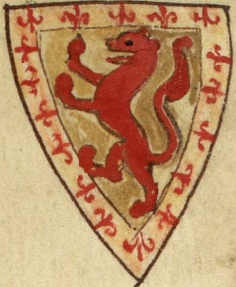 Coat of arms of Alexander II, King of Scots. Arms of Alexander II, as shown in Matthew Paris' Historia Anglorum, c. 1250 (Wikipedia)