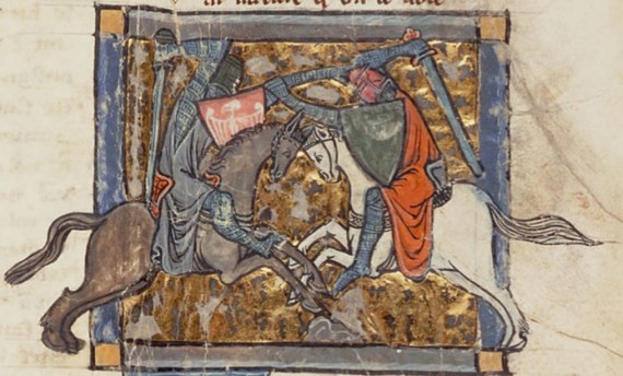 Yvain unwittingly battles Gawain, from Chrétien's Yvain, the Knight of the Lion (Wikipedia - Public Domain)