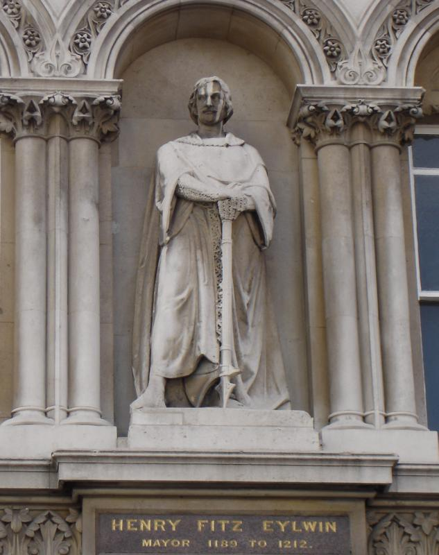 Statue of Henry Fitz-Aillwin de Londonestone, first mayor of London. The Holborn Viaduct. (Wikipedia)