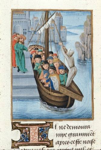 Ship of pilgrims - from British Library MS Royal 15 E I   f. 404v