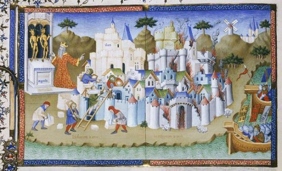The Construction and Destruction of Troy, Orosius Master, Paris, 1405–6. In City of God