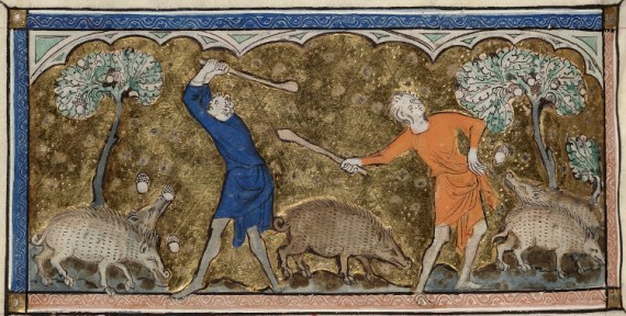Men knocking down acorns to feed swine, from the 14th century English Queen Mary Psalter, MS. Royal 2 B VII f.81v. (Wikipedia).