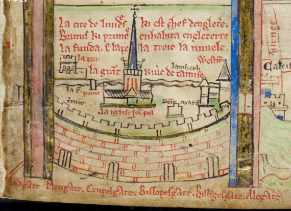 One of the earliest maps of London, by monk and cartographer, Matthew Paris, c.1252.