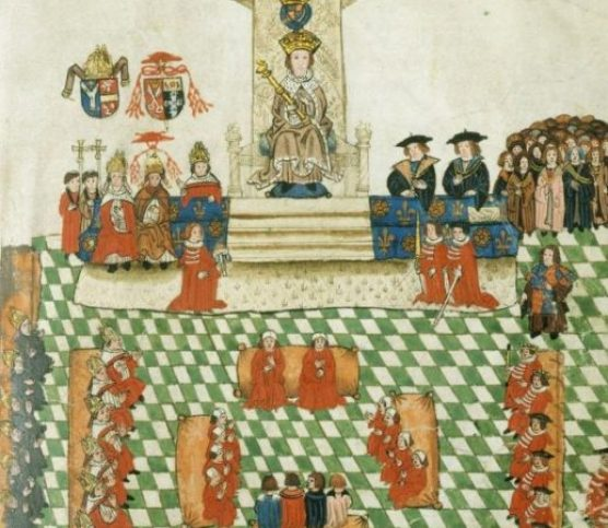 The Wriothesley Garter Book - Henry VIII in Parliament.