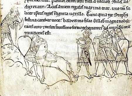 Battle of Lincoln (1141). (British Library, Arundel 48 f. 168v)