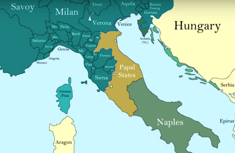 Map Of Italy Showing Pisa.How The Borders Of Italy Changed During The Middle Ages