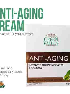 ANTI-AGING CREAM with Natural Turmeric Extract by Green Valley - Instantly reduces wrinkles & fine lines
