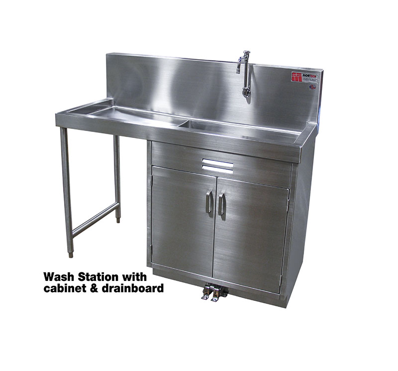 foot pedal surgical scrub sink with cabinet