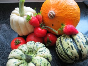 Strawberry's, pumpkins and tomatoes