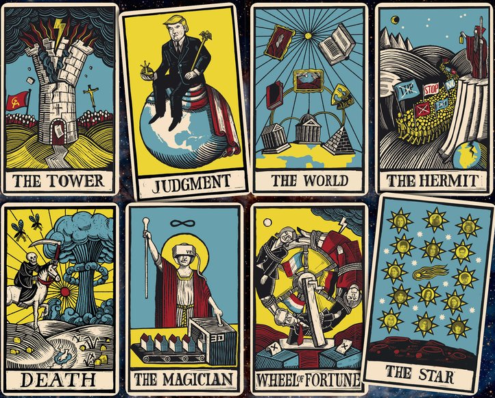 tarot cards trump judgment the tower death the magician the star wheel of fortune the hermit