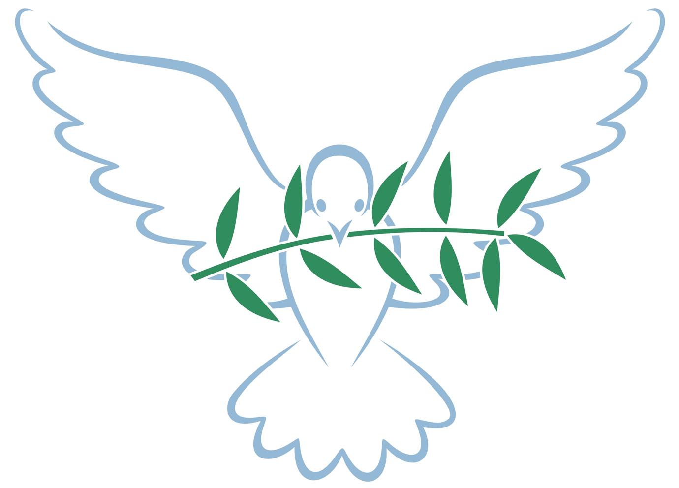 Colomba con ramoscello d'ulivo, simbolo di pace.