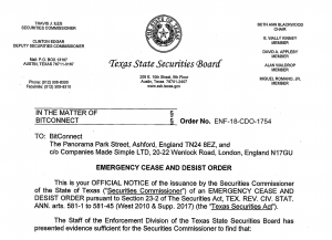 Bitconnect cease and desist from Texas