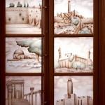 מקומות קדושים ליהודים על חלונות בבית כנסת