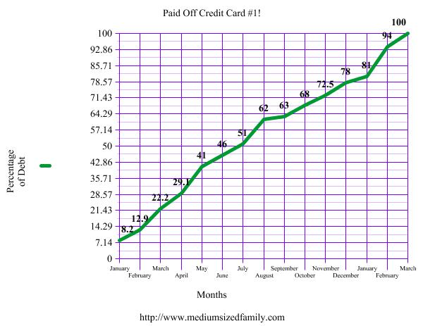 The not so pretty chart that shows how we paid off credit card debt.