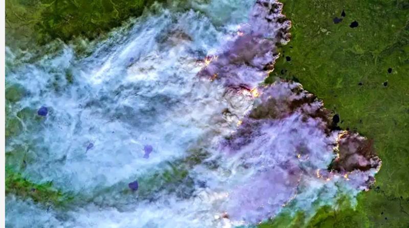 Gore Sibir, Aljaska i Grenland, požar se vidi iz svemira