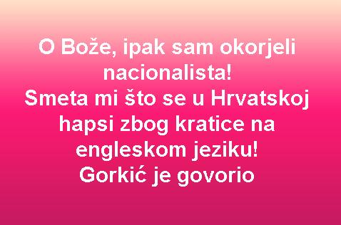 O Bože, ipak sam okorjeli nacionalista! Smeta mi što se u Hrvatskoj hapsi zbog kratice na engleskom jeziku! Gorkić je govorio