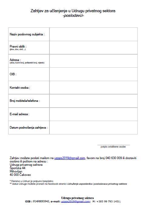 Zahtjev za učlanjenje u Udrugu privatnog sektora za poslodavce