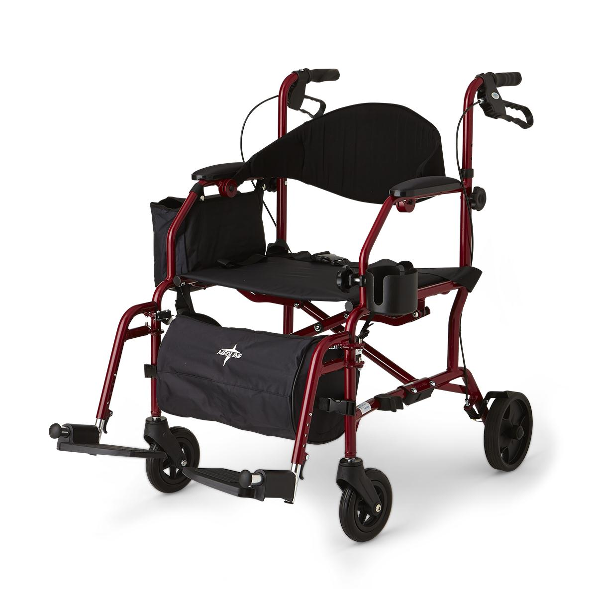 walker roller chair blue wingback with ottoman combination rollator transport medline industries inc