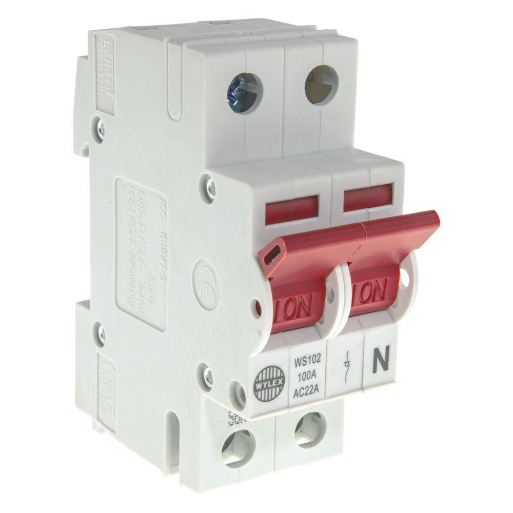 medium resolution of image of wylex ws102 main switch isolator 100a dp 2 module