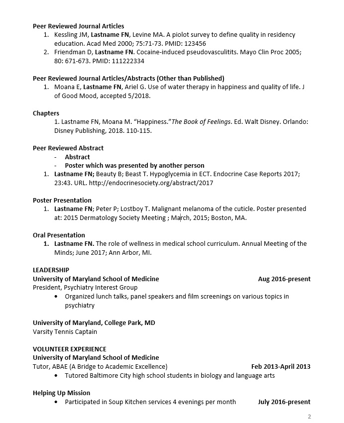 example of student cv with papers posters