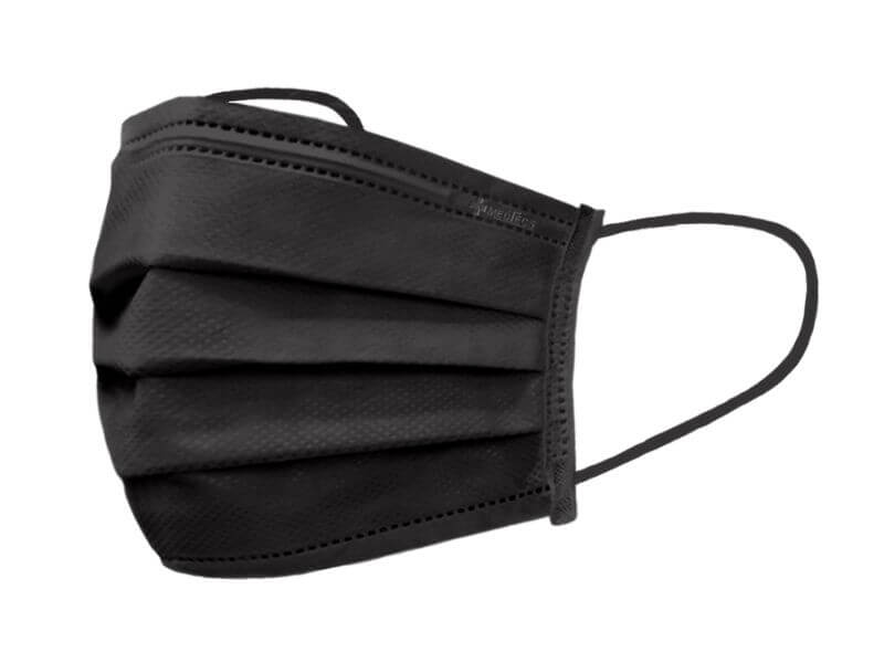 Medtecs black medical/surgical disposable mask, 3-layer breathable mask, CoverU 50 pieces