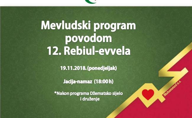 Poziv na Mevludski program u ponedjeljak, 12. Rebiul-evvel 1440.h.g.