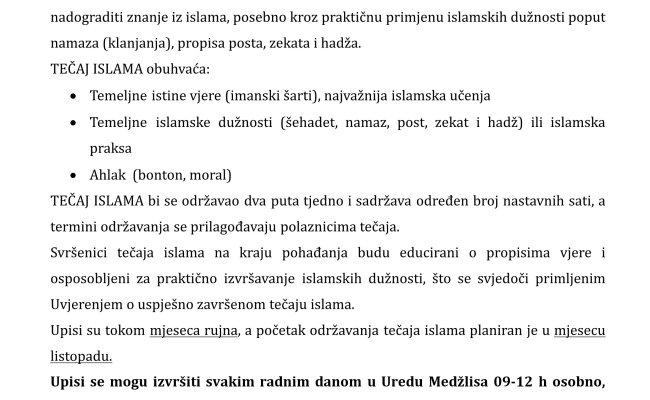 Poziv na besplatni tromjesečni tečaj islama